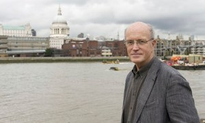 Iain Sinclair on the south bank of the river Thames, London, Britain - 26 Aug 2011