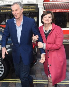 LONDON, UNITED KINGDOM - MAY 10: Tony Blair and Cherie Blair seen arriving hand in hand at chiltern firehouse restaurant and memebers club for dinner on May 10, 2014 in London, England. (Photo by Alex Davies/GC Images)